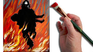 Easy Fire acrylic Painting tutorial <b>Fireman</b> Rescue - YouTube