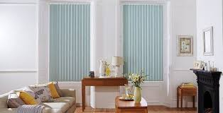 I love these <b>vertical</b> blinds! The light <b>blue color</b> is really popping ...