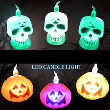 Mini <b>Cute Halloween LED</b> Candle Light Skull Pumpkin Night <b>Lamp</b> ...