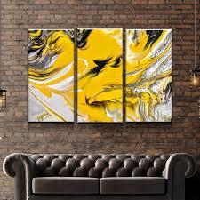 Canvas Print, Triptych, <b>Abstract</b>, Yellow Art, Art Print, Split Canvas ...