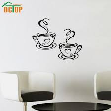 sun wall decal trendy designs: dctop double coffee cups wall stickers room decoration vinyl art wall decals adhesive stickers on the