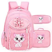 <b>Sweet Cartoon Cat</b> Backpack School Portfolio School Bags For Girls ...