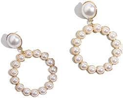 Gold Round Drop Earrings Women Trendy Imitation ... - Amazon.com