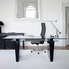 architecture awesome modern home office desk design idea with glass top black base silver desk lamp and black chair fabulous modern home office desk design black contemporary home office