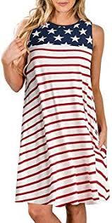 Franterd 4th of July Womens Stripe Dress Casual ... - Amazon.com