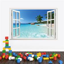 waterproof 3d seascape beach window view removable wall art stickers vinyl decal home decor office living beach office decor