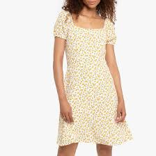 <b>Платье короткое расклешенное</b> с цветочным рисунком рисунок ...