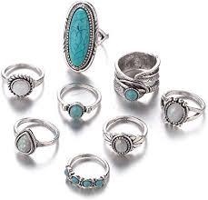 Iumer 8pcs Bohemian Knuckle Ring Set <b>Leaf Faux</b> Turquoise <b>Opal</b> ...
