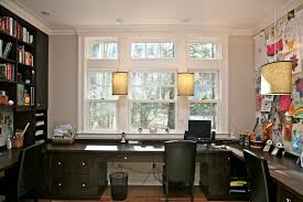 custom home office trendy home office photo in boston with a built in desk avenue greene grey ladder storage office wall