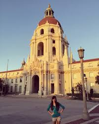 the pros and cons of traveling for work jsom perspectives michelle while in pasadena for a client standing in front of pasadena city hall it s the filming location for pawnee city hall in parks recreation
