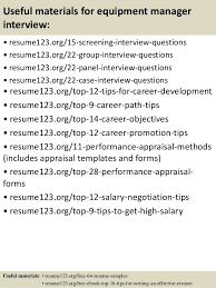 Top   equipment manager resume samples