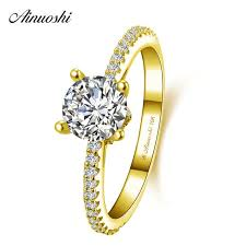 <b>AINUOSHI 10k Solid Yellow</b> Gold Round Ring 4 Prongs 1ct Round ...