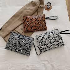 Chic Snakeskin Print Handbag Vintage Envelope Clutches Fashion ...