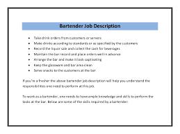 bartender resume sample pdf