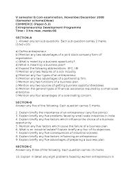 test paper entrepreneurship development program b com 5th sem the document