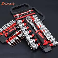 <b>46pcs</b> 1/4-Inch Socket <b>Ratchet</b> Wrench Combo Tools Kit For <b>Car</b> ...