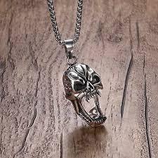 Men's Stainless Steel Skull Pendant Necklace in Silver Tone <b>Biker</b> ...