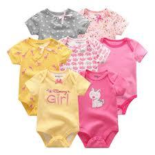 2019 <b>5PCS</b>/<b>Lot Bodysuits Baby Girls</b> Clothes 0 12M Baby Boys ...