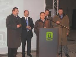 Oberbürgermeister Bruno Zimmer, Intergem-Manager Kai-Uwe Hille, Architekt Rüdiger Bill, Beigeordneter Friedrich Marx und Bürgermeister Frank Frühauf ... - 081008-messehalle