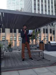 high notes rooftop celebration concert artist guild sun sets on the rooftop brian gresko reads an essay about parenting while writing