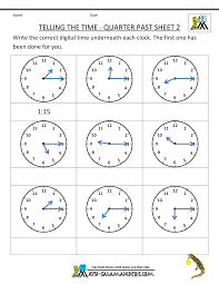 Clock Worksheet - Quarter Past and Quarter to2nd grade math worksheets telling the time quarter past 2