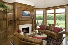 minimalist traditional furniture for english living room style with brown leather sofa set and round coffee table