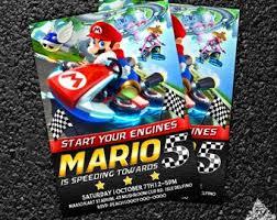 Mario kart invitations | Etsy