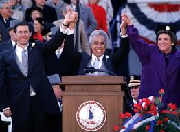 「Douglas Wilder, the Democratic lieutenant governor, as the first African-American governor in U.S. history.」の画像検索結果