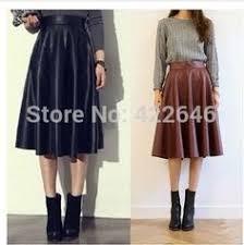 Дешевое Старинные высокой талии юбка в складку бюст PU ...