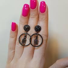 <b>Серьги</b>-<b>кольца</b>: с природными <b>черными</b> шпинелями. 925 – купить ...