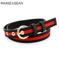 Belt For Trousers Women Canvas Waist Belt Striped Pin Buckle Red ...