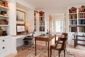 grey croft elegant home office photo in new york with a built in desk and white basement office setup 3 primary