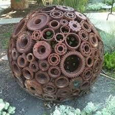 Welded gears make an awesome ball for yard art ...