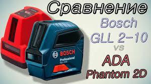 Сравнение лазерных <b>нивелиров Bosch GLL 2</b>-10 и ADA Phantom ...