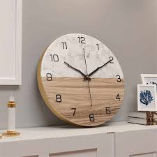 Marble Pattern Iron Wall Clock <b>Nordic Creative Living Room</b> ...