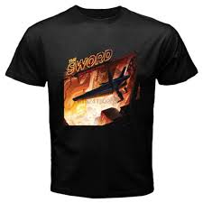The <b>Sword Greetings From</b> Album Heavy Metal Band Mens Black T ...