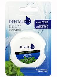 <b>Зубная нить</b> Денталпик <b>Floss</b> Mint Waxed, мятная вощеная, 50 м ...