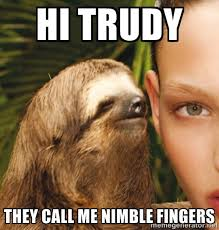 Hi Trudy They call me nimble fingers - The Rape Sloth | Meme Generator via Relatably.com