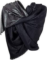 <b>Gai Mattiolo Women's</b> Scarf C02-2 Black and Silver 160 x 70 cm ...