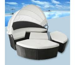 <b>Outdoor Lounge Bed</b> Poly Rattan Black | Sun lounger, Patio daybed ...