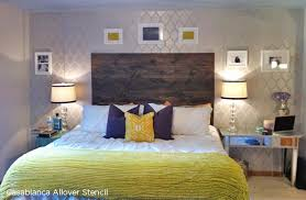 master bedroom feature wall: casablanca stenciled master bedroom in metallic paint colors http wwwcuttingedgestencils