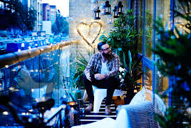 view of balcony garden with skuv led fairy lights ikea ps vago white easy chairs balcony lighting