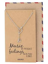 Quan Jewelry Music Note Treble Clef Necklace ... - Amazon.com