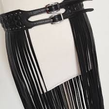 Sexy long fringe leather <b>belts</b> Black Designer ceinture femme Studs ...