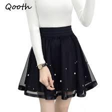 <b>Qooth Women Skirt Sexy</b> Saia Short Skater Skirts For Ladies Black ...