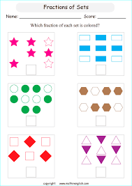 What is the colored fraction in each set of objects and shapes ...printable primary math worksheet