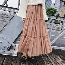2019 Autumn Women Elegant Black <b>Mesh</b> Tulle Pleated Panelled ...