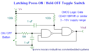 on off switch circuit diagram the wiring diagram push button on off soft latch circuits battery powered touch circuit diagram