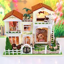 13833 new arrive large doll house villa model building kits miniature diy wooden dollhouse lights furniture cheap wooden dollhouse furniture