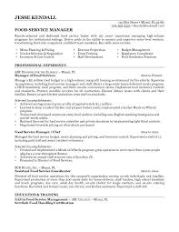 Food Service Manager Resume Sample   food service skills resume